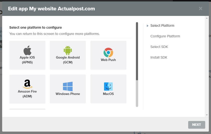 Setup Platform How to add Push Notification in WordPress 1 -