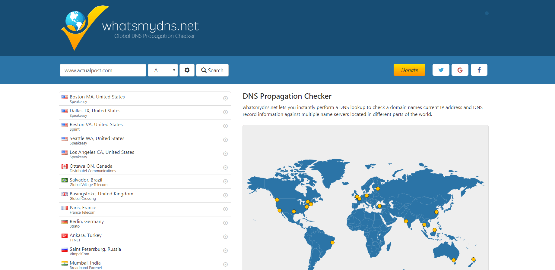 whatsmydns.net - Website DNS Check