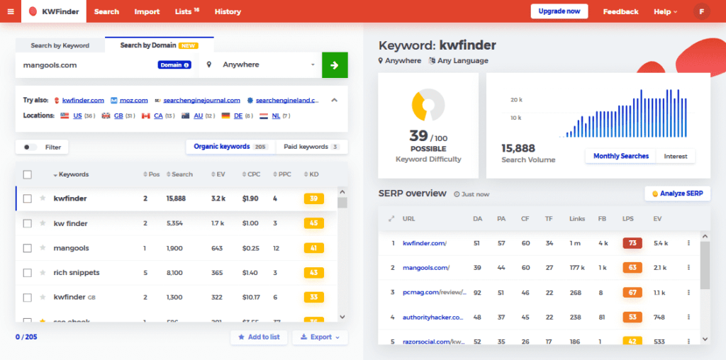 KWFinder Keyword Research and Analysis Tool