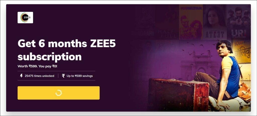 Get Free 6 months ZEE5 subscription with TimesPrime